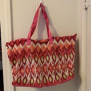 Chico's Pink Multicolored Tote Zips in square NWT